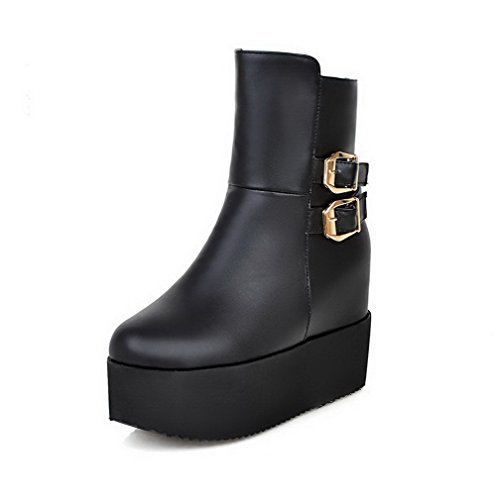 AmoonyFashion Womens Low-top Solid Zipper Round Closed Toe High-Heels Boots