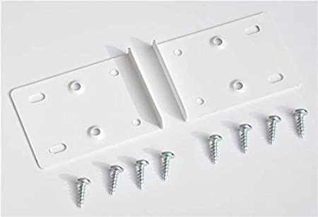White Kitchen Cupboard Door Hinge Repair Kit Includes 2 Plates And