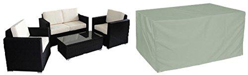 HBCOLLECTION Housse pour salon de jardin canapé et fauteuils taille large polyester gris