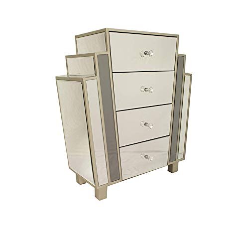 Furniture Art Deco Style Mirrored 4 Drawer Cabinet, Champagne Home Office Commerial Heavy Duty Strong Décor Art Deco Mirrored Furniture