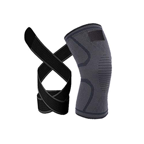 (NszzJixo9 SKDK 3D Weaving Knee Brace Pad Support Protect Compression Breathable Running Support MMA Pad Function Indoor Fitness, Cycling Outdoor, Running Sports (XL, Black))