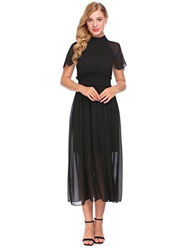 ACEVOG Halter line Pleated Black Vintage 1 Belt with Loose Dress Chiffon Women's A 4n4q6OBr