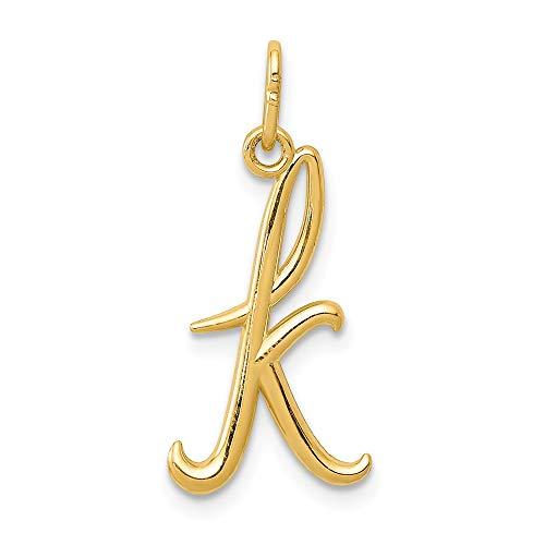 (JewelrySuperMart Collection 14k Yellow Gold Cursive Script Lower-case Initial Pendant - Letter K)