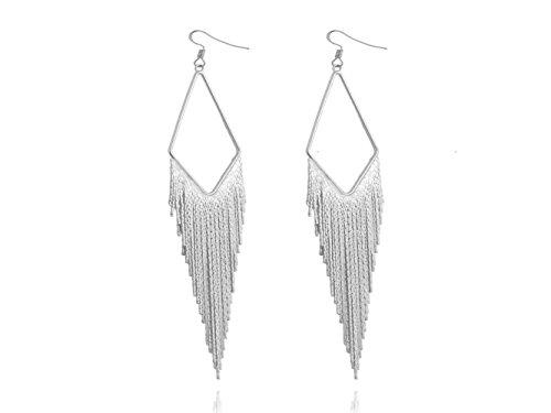 Hollow Diamond Shape Long Tail Tassel Drop Dangle Lightweight Women's Earrings by Dokreil - Face Shape Long Diamond