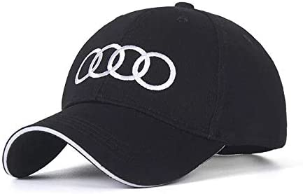 JDclubs Car Logo Embroidered Adjustable Baseball Caps for Men and Women Hat fit Audi Accessory Black