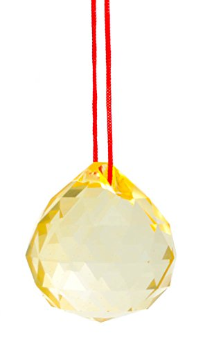 - M.V. Trading 30mm Crystal Ball Prisms Pendant Feng Shui Suncatcher Decorating Hanging Faceted Prism Balls, Yellow