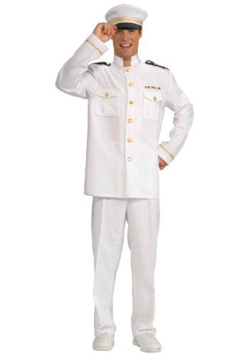 Forum Novelties Men's Cruise Captain Costume, White/Blue, Standard (All White Costume)