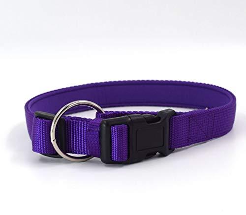 PURPLE Small PURPLE Small KTYX New Pet Collar Dog Leash Dog Leash With Small Medium And Large Dog Diving Cloth Nylon Comfortable Collar, Black, bluee, orange, Red, Purple, Width 1.5cm. Adjustable Range 22.8-35.3CM; Width 2.5cm.