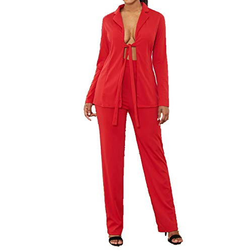 Womens 2 Piece Outfits Long Sleeve Suits Business Blazers with Pants Red X-Large