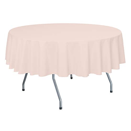 Ultimate Textile 72-Inch Round Polyester Linen Tablecloth Ice Peach ()