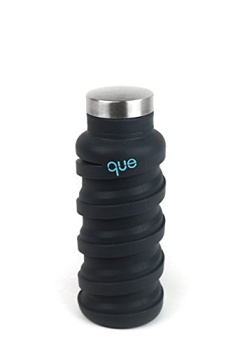 Que Bottle | Designed for TRAVEL and OUTDOOR. Collapsible Water Bottle - Food-Grade Silicone / BPA Free / Lightweight / Eco-Friendly - 12oz