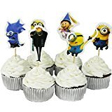 Despicable Me Minions Theme Party Decorative Cupcake Toppers for Birthday Party Baby Shower 24 Pieces -