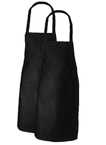 Elaine Karen Adult Men's Women's Unisex Chefs Bistro Adjustable Extra Long Ties, professional Commercial Grade Bib Apron - BLACK - 2 ()
