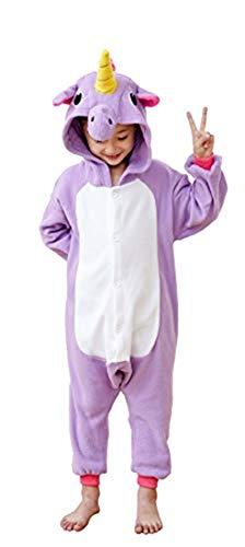 Unicorn Onesie Pajamas Kids Animal One Piece Costumes Homewear Cosplay Outfits Purple -