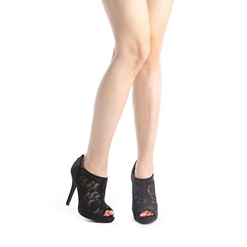 Matrimonio Coppie nero Vestito Toe Tallone San Valentino Di 01 Sognare Da Peep Delle Modo Donne Scarpe Camoscio dXEda