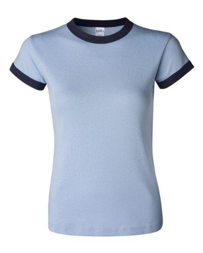 Bella Canvas Ladies' Baby Rib Short-Sleeve Ringer T-Shirt - BABY BLUE/NAVY - M