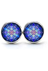 Mandala Earrings , Mandala Art Ear Studs Soothing Blue Mandala, Yoga Earrings Jewelry