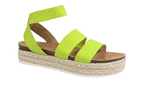 Nature Breze Kacie 02 Women's Casual Summer/Spring Open Toe Espadrille Wedge Sandals, Lime 10