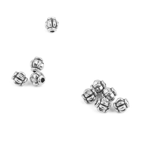 (MonkeyJack 100 Pieces Silver Tone Alloy Pumpkin Spacer Beads DIY Necklace Bracelet Jewelry Making Findings Crafts 4mm)