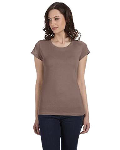 Bella+Canvas Women's Combed Cap-Sleeve Sheer Jersey T-Shirt_Large_PEBBLE BROWN - Womens Fitted Cap Sleeve Tee