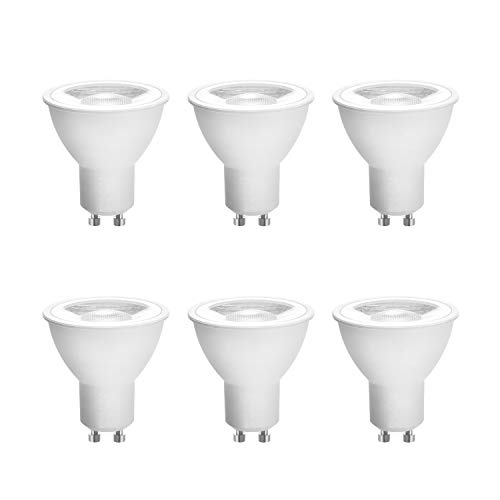 GU10 LED Bulb Dimmable, Daylight, 7W Equivalent 50W, 60W Halogen, 5000K UL Listed, COB Flood Spotlight 640LM , AC 120V CRI 82, GU10 Base (6 Pack) by Eco.Luma