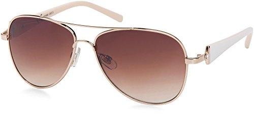 styleBREAKER elegante Damen Pilotenbrille getönt, Aviator Sonnenbrille mit lackierten Bügeln und Strassstein 09020053, Farbe:Gestell Gold-Weiß / Glas Braun verlaufend