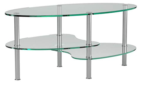 Ryan Rove Ashley 38 Inch Oval Two Tier Glass Coffee Table (Clear Top and Bottom)