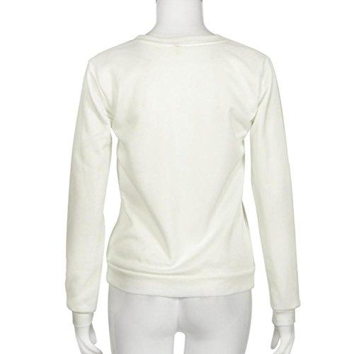 Camisas Mujer,Xinan Manga Larga Blusa Sudadera con Capucha Abrigo Tops Blanco