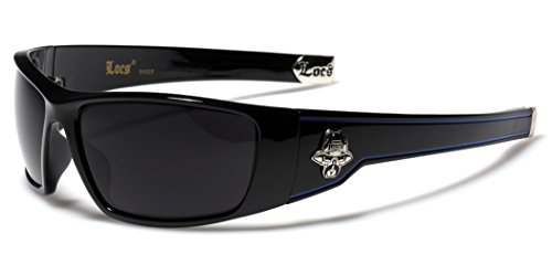Large OG Locs Dark Lens Sunglasses - Black & - Cholo Locs Biker Mens Sunglasses
