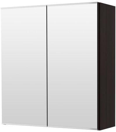 XIKEA LILLANGEN - Armario con espejo (2 puertas, 60 x 21 x 64 cm), color negro y marrón: Amazon.es: Hogar