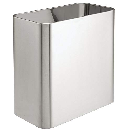 mDesign Rectangular Small Trash Can Wastebasket, Garbage Container Bin - for Bathrooms, Powder Rooms, Kitchens, Home Offices - Solid Stainless Steel - Brushed ()
