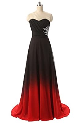 Strapless Gradient Ombre Chiffon Long Prom Dress Beads Evening Wedding Party Gown