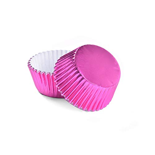 (New Listing 100Pcs Thickened Aluminum Foil Cups Cupcake Liners Mini Cake Muffin Molds For Baking,Rose,Round)