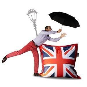 Canap londres avec le drapeau anglais deco londres for Pouf drapeau anglais