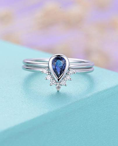 Amazon Com Blue Sapphire Engagement Ring Set Pear Shaped Cut Solid