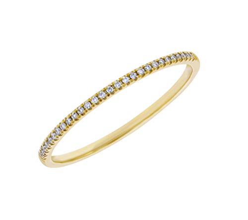 Goldenstar 0.06Ct. White Diamond Rings, 14k Yellow Gold Band, Size 6.5