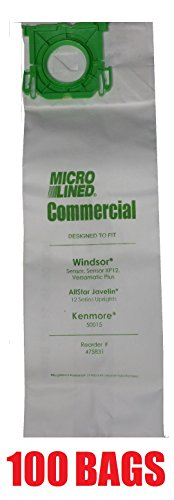 100 Sebo, Windsor Sensor Micro-Lined Commercial Upright Vacuum Bags, Fits 5093AM, 5300. 100 (Sebo Pack)