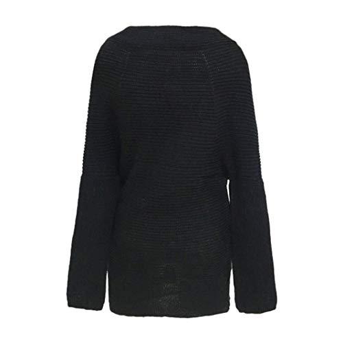 Maglione Off Manica Superiore Maglia Donna Pullover A Shoulder Camicia V  Cardigan The Lunga Nero Sciolto Casual ... bc7320ef4563