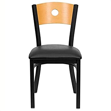 Flash Furniture HERCULES Series Black Circle Back Metal Restaurant Chair – Natural Wood Back, Black Vinyl Seat