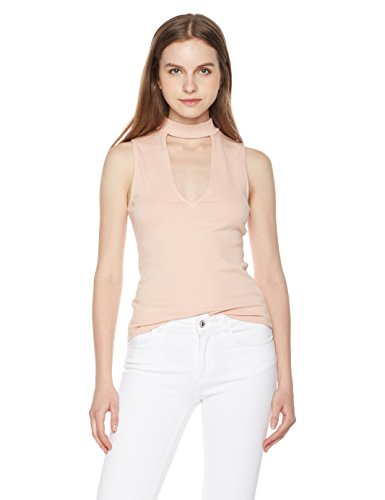 Something For Everyone Women's Marled Cutout Neck top L Rose - Shirt Cut Out Top