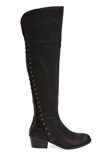 Vince Camuto Bolina Black Leather Over The Knee Fitted Riding Kochelda Boot (8.5, Black)