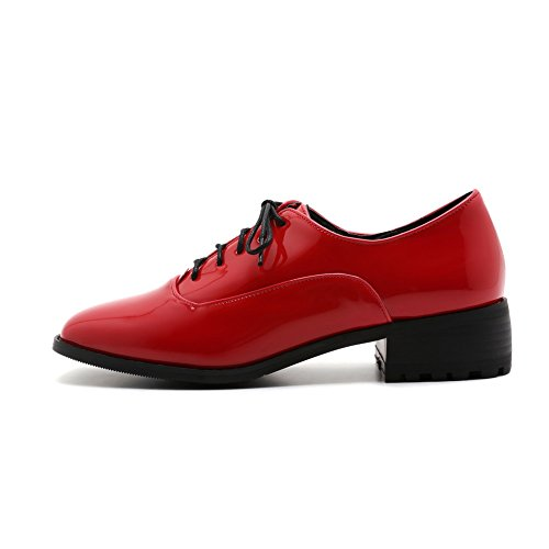Odomolor Women's Lace-up Low-Heels Microfibre Solid Square-Toe Pumps-Shoes, Red, 33
