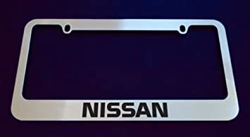 nissan chrome license plate frame metal