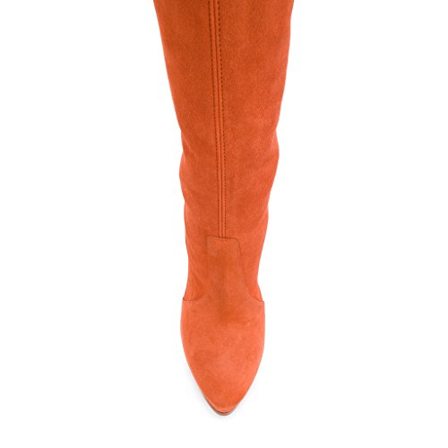 Knee US Faux Stretch Suede Shoes On Platform 15 FSJ 4 The Over Orange Pull Stilettos Women Size Boots with twWfCg