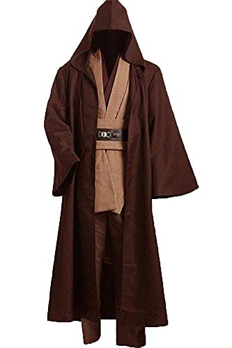 (Cosplaysky Adult Tunic Hooded Robe Outfit for Jedi Costume Brown Version)