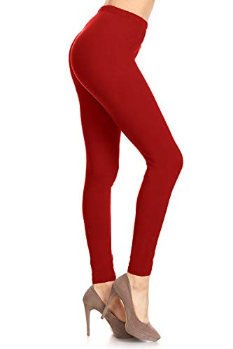 LDR128-TangoRed Basic Solid Leggings, One Size]()