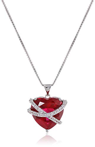 Sterling Silver Created Gemstone and Created White Sapphire Wrapped Heart Pendant Necklace, 18