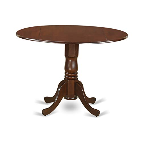 - East West Furniture DLT-MAH-TP Round Table with Two 9-Inch Drop Leaves, Mahogany Finish