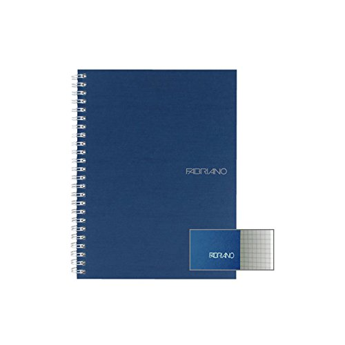 Spiral Graph Paper Bound - Fabriano EcoQua Spiral Notebook Grid-Graph Paper Notebook-Navy 5.8 inches x 8.25 inches