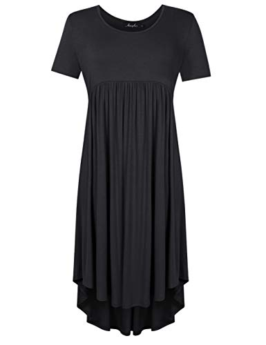 AMZ PLUS Plus Size Scoop Neck Short Sleeve Pleated Tunic Casual Dress for Women Black 5XL